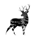 silhouette of a deer with pine forest vector image vector image