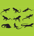 silhouettes of a lizard vector image