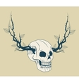 Skull with branches tattoo art design vector image vector image