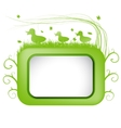 Spring banner with green grass and duck vector image vector image
