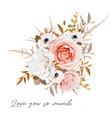 stylish floral bouquet design peach rose flowers vector image vector image