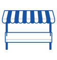 supermarket shelf of one level and sunshade in vector image
