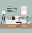whte sofa with a coffee table and rack with a vector image vector image