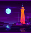 working lighthouse on seashore cartoon vector image