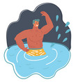 young man in water summer vacations vector image