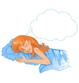 Young beautiful girl dreaming in the night eps10 vector image