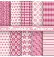 10 feminine seamless patterns tiling fond pink vector image vector image