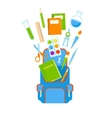 Backpack with school supplies vector image vector image
