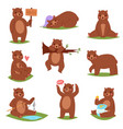 bear set cartoon animal character and cute vector image vector image