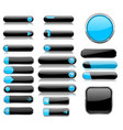 black and blue menu buttons interface elements vector image