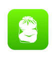 black trash bag icon digital green vector image vector image
