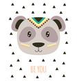card with tribal cartoon panda vector image