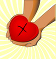charity hands giving love concept vector image