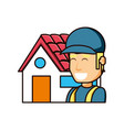 construction worker with exterior house vector image vector image