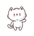 cute funny cat flat line cartoon kawaii vector image vector image