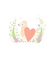 cute little lamb with red heart adorable sheep vector image vector image