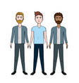 cute men with hairstyle and different wear vector image vector image