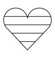 cute rainbow heart love outline design vector image