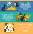 egypt travel banner horizontal set flat style vector image vector image