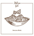 Fettuccine alfredo pasta sketch icon for