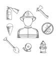Firefighter profession hand drawn sketch icons vector image vector image