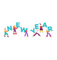 flat people holding 2019 new year letters vector image