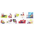freelance workers people working on laptops vector image