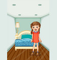 girl standing in bedroom with blue bed vector image vector image