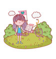 happy little girl reading book with bicycle in the vector image vector image