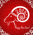 Happy New year red card with goat horn vector image