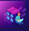 isometric blockchain development concept vector image vector image