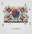 large group of people in the korea flag shape vector image vector image