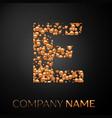 letter e logo gold dots alphabet logotype vector image vector image
