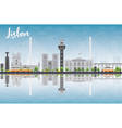 lisbon city skyline with grey buildings vector image vector image
