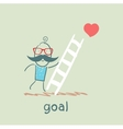 man climbs the stairs to the goal vector image