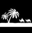 man on the camel in palm trees vector image vector image