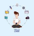 man sit in floor with smartphone social media vector image vector image