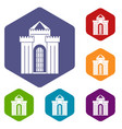 medieval palace icons set hexagon vector image vector image