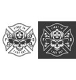 monochrome firefighting emblems vector image