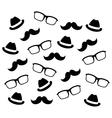 Mustaches glasses and hats vector image
