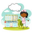 Nurse standing in front of hospital vector image vector image