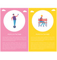 people in park poster boy sitting alone on bench vector image vector image