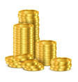 realistic stack golden money or stack coins vector image vector image