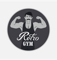 retro gym vintage poster design with strong man vector image vector image