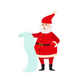 santa claus with a long list of christmas presents vector image vector image