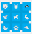 set of simple animals icons vector image vector image
