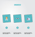 set of trade icons flat style symbols with badge vector image