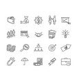set simple business icons black lines vector image
