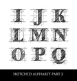 sketched diagram alphabet set 2 vector image vector image