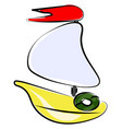 toy sailboat on white background vector image vector image
